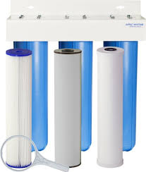 "APEC Whole House Iron, Sediment and Chlorine Water Filter, 3-stage 20"" Big Blue Complete Home System"